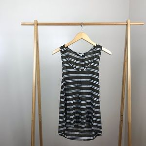 Splendid • Dark Green Striped Sleeveless Top Small